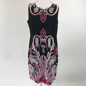 Perceptions. Black, white, and pink paisley dress